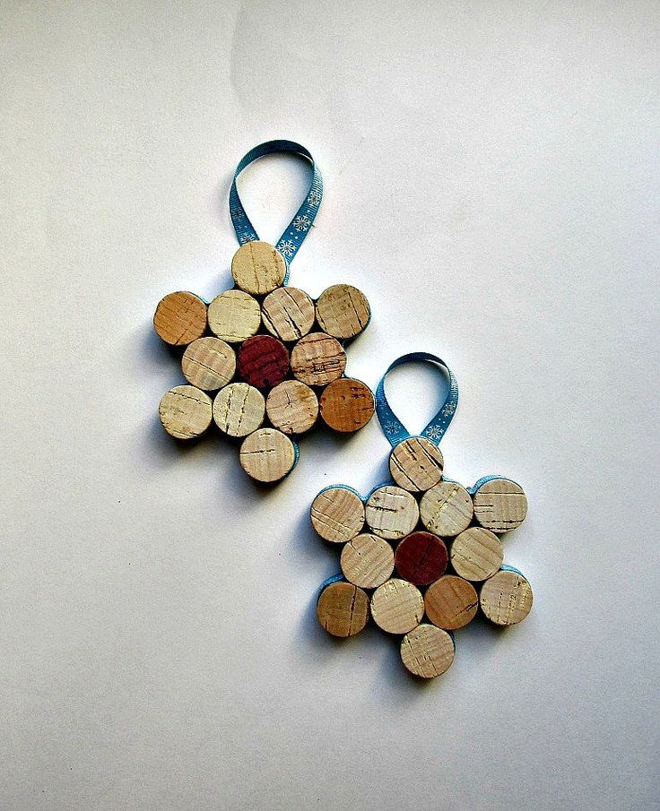Wine Cork Snowflake Ornament/Wine Bottle Decoration-Set of 2. $10.00, via Etsy.