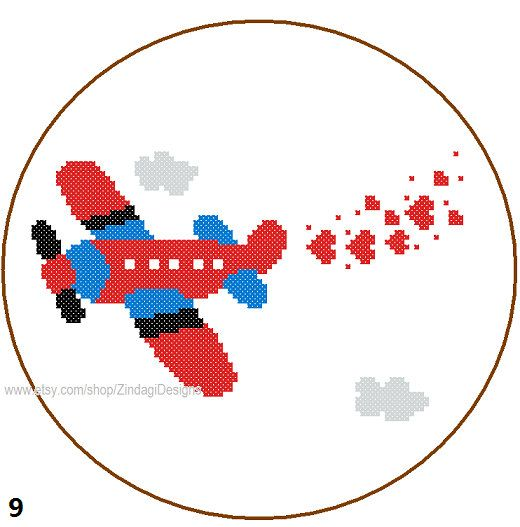 Instant Download Aeroplane Cross Stitch Pattern 3 colour combinations red blue yellow gray green brown wall cushions sweater gift aircraft on Etsy, $3.50
