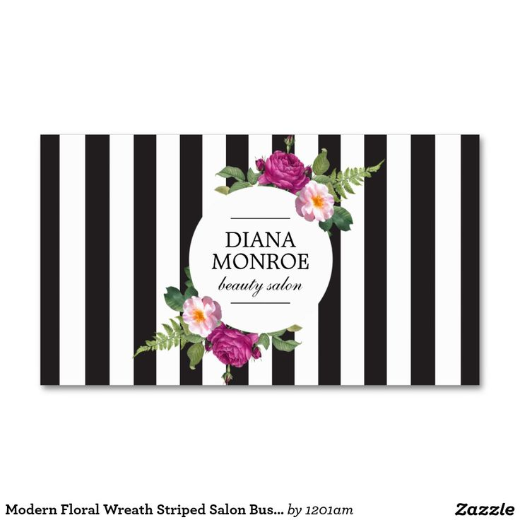 Modern Floral Wreath Striped Salon Business Card for Hairstylist, Hair Salon, Makeup Artist, Beauty Blogger and more.