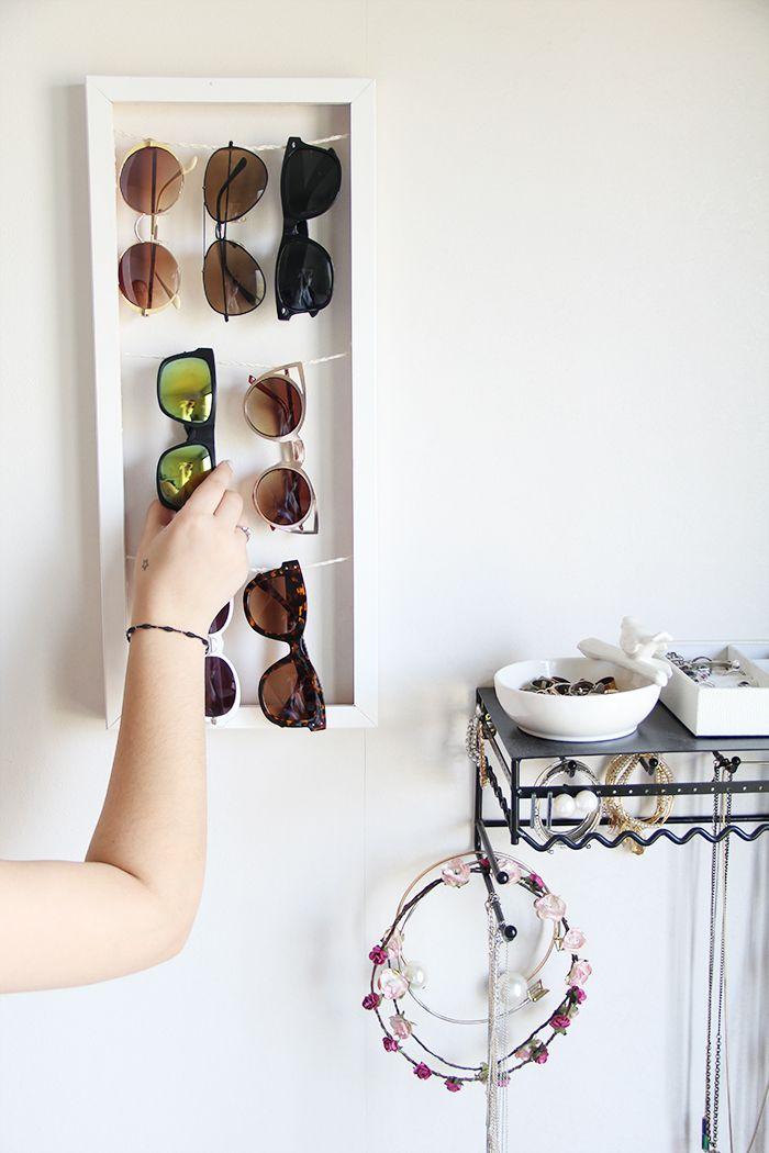 A nice and easy Sunglass holder DIY to hold and display your sunnies this summer.