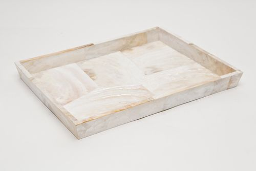 """Lugano Pearl White Shell Large Tray $396 (Dimensions (in):13""""L x 10""""W x 1.5""""""""H)"""