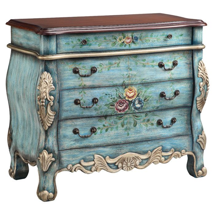 Thicket chest hand painted floral details and carved for Hand painted chests