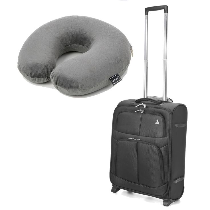 #shoponline Aerolite 55x40x20cm 42L Lightweight Suitcase + Neck Pillow (Grey): Aerolite 55x40x20cm 42L Lightweight Suitcase… #onlineshopping