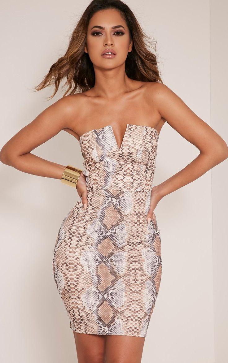 Michelle Taupe Snake Print Bandeau Dress Image 1