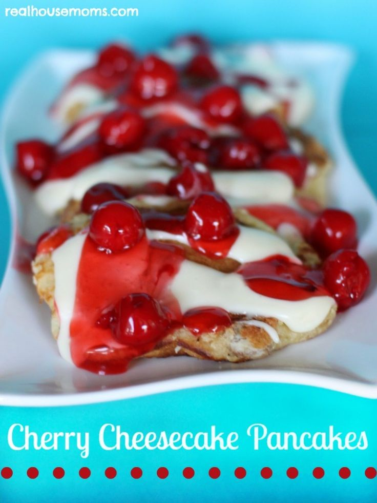 Cherry Cheesecake Pancakes combine three amazing ingredients to create a sweet, decadent, and delicious meal or dessert!