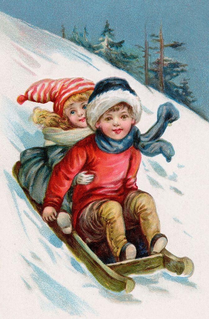 Старые открытки с детьми зимой, картинки про