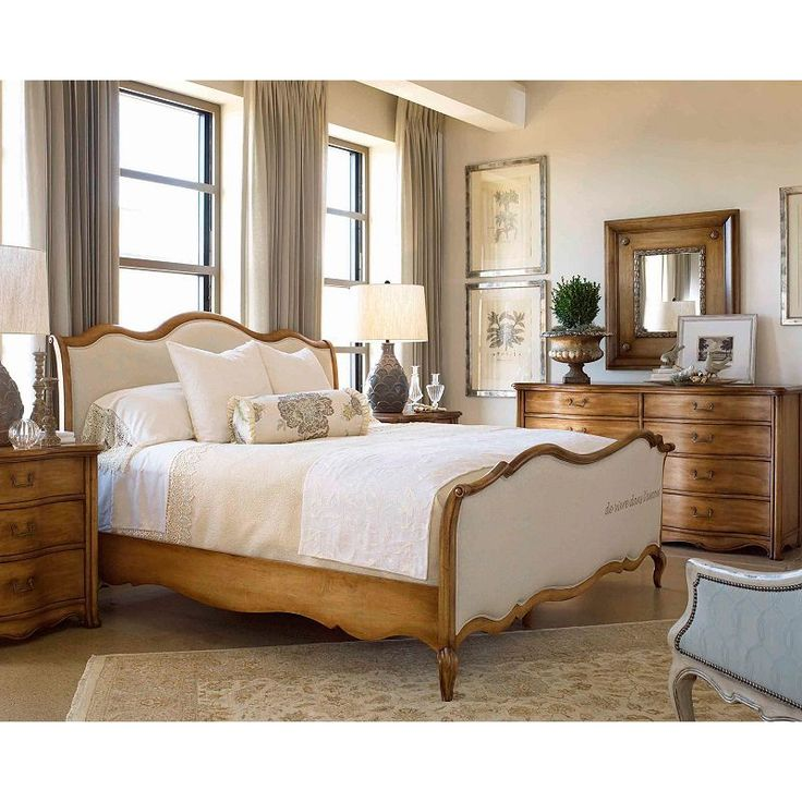 drexel bedroom set%0A Drexel Heritage   European Market King Ciney Panel Bed   Shown in Room  Setting with Nightstand  Dresser and Mirror
