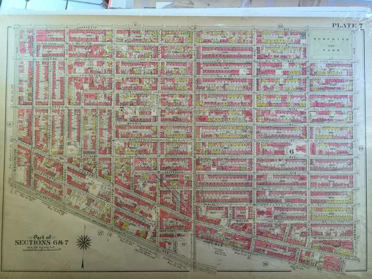 1907 CLINTON HILL BEDFORD STUYVESANT BROOKLYN NY G.W. BROMLEY PLAT ATLAS MAP   eBay