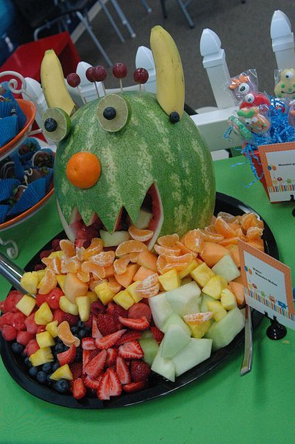 Monster watermelon... would be cute to bring into class since sugar is a no-no
