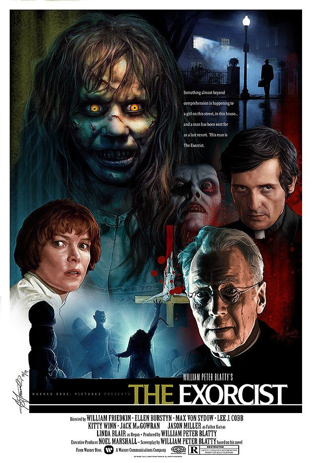 """""""A young girl becomes possessed by the devil and causes several violent deaths before she can be cured."""" Find THE EXORCIST in our catalog: http://highlandpark.bibliocommons.com/item/show/2146976035_the_exorcist"""
