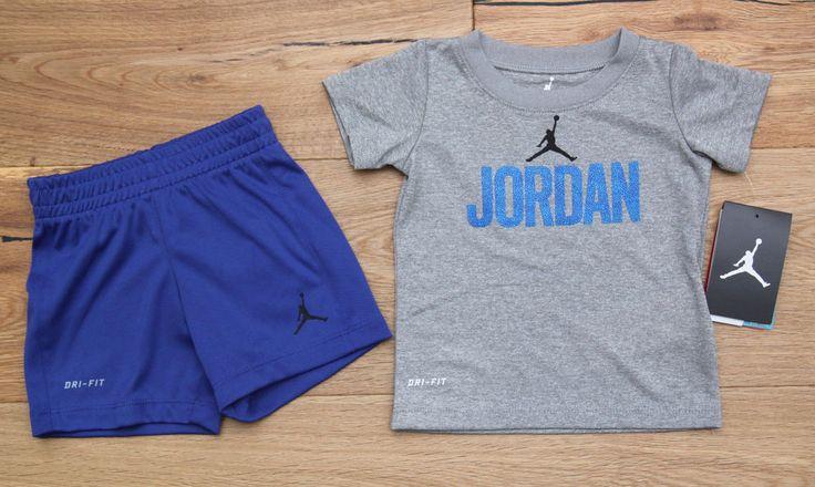 Air Jordan Baby Boy Tee & Shorts Set ~ Blue, Gray & Black ~ Jumpman ~ Dri-Fit #Jordan #BabyBoy #DRI-FIT