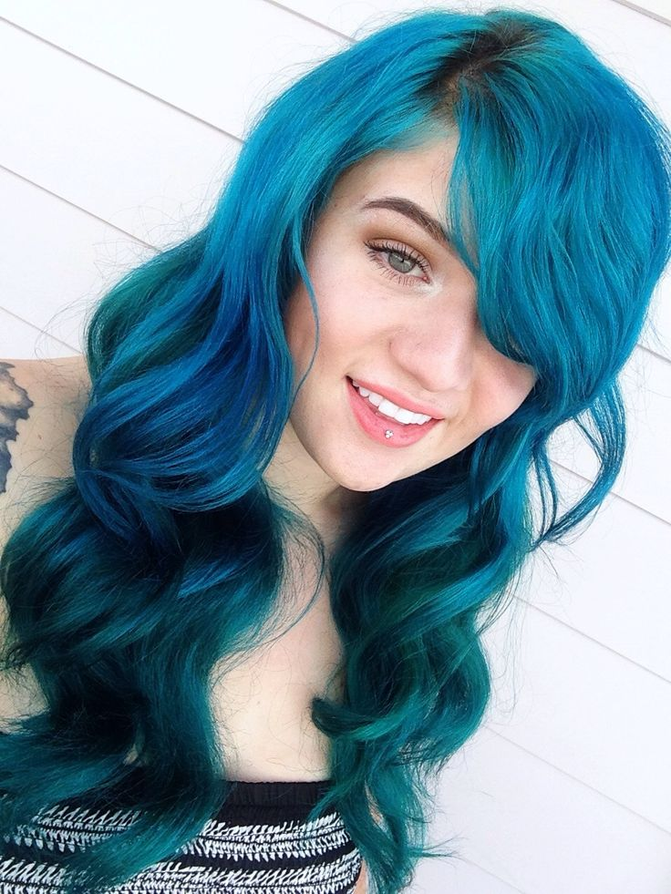 Atomic manic panic turquoise dyed hair color