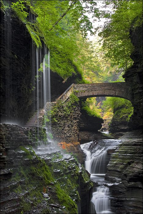 Waterfall Bridge, Watkins Glen, New York