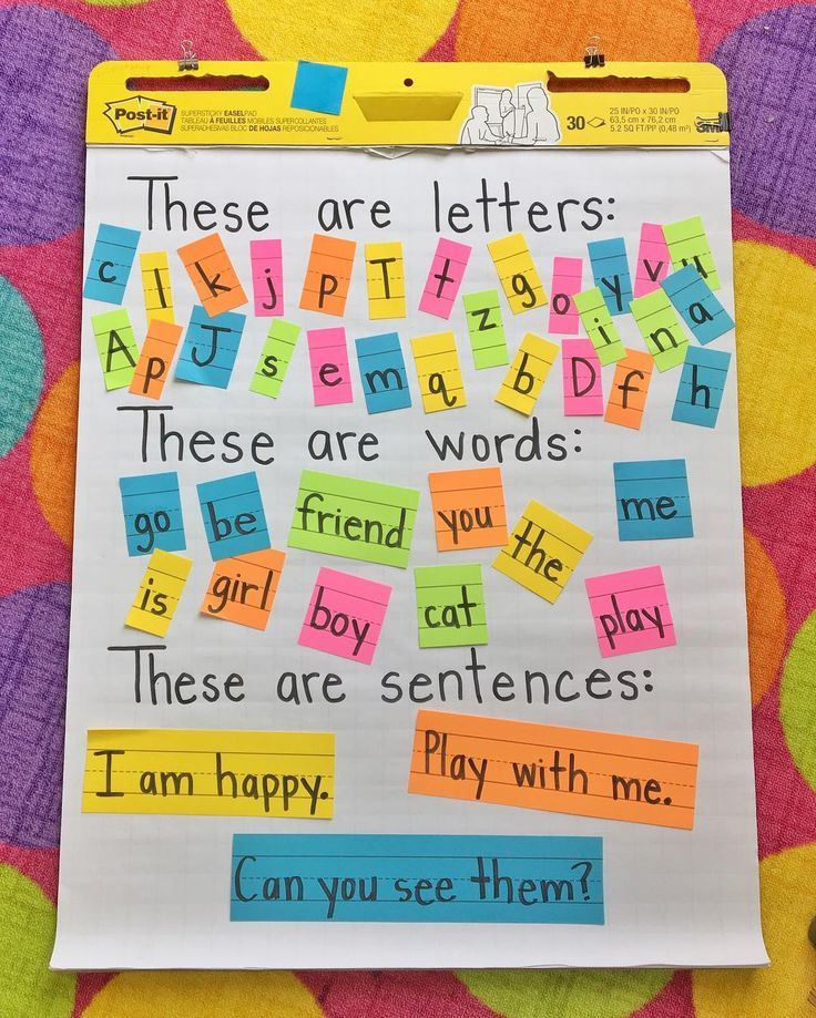 Anchor Chart for Writing Fundamentals: letters, words, and sentences.