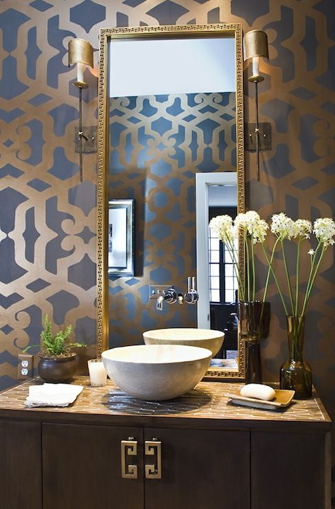 Gorgeous bathroom in taupe, brown, gray, and antique gold. Stencil by Virginia Weathersby. Gilt mirror, vintage cabinet bathroom vanity, white porcelain vessel bowl sink, gray taupe gold stencils and Hollywood Regency Like the long skinny mirror maybe for half bath. Like stencil for dining room