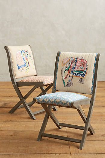Folding Chairs for Guests: Elephant Appliqué Terai Folding Chair