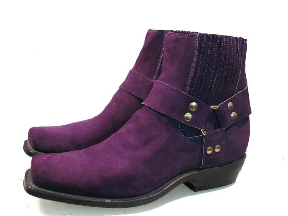 """I really have to find a way to make these work!     """"Purple Suede Ankle High Harness Boots ... Awesome...Men's size 9...$145"""""""