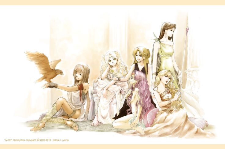 Athena (with Nike), Artemis, Persephone, Amphitrite, Aphrodite and Hera. (I decided to leave out Demeter)    Although Amphitrite is not really a goddess...but I had to include her...(being Poseidon's queen)