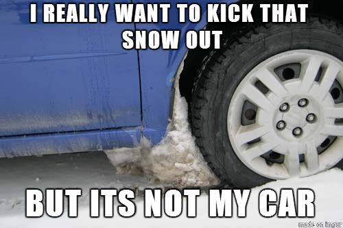 Minnesota problems... (I love kicking the snow/ice chunks out from under my tires!)