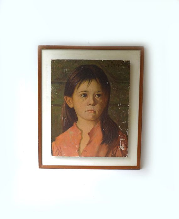 Vintage mid century large framed print Crying Girl by by evaelena