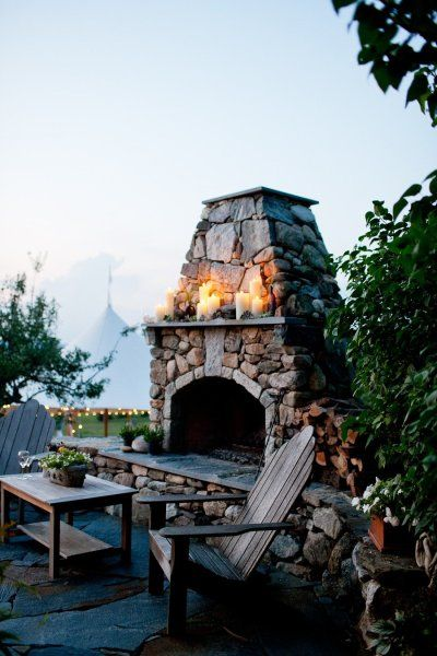Outdoor fireplace on a slate stone patio with Adirondacks: Stones Fireplaces, Outdoor Living, Outside Fireplace, Outdoor Fireplaces, Firepit, Outdoor Spaces, Pizza Ovens, Fire Places, Fire Pit