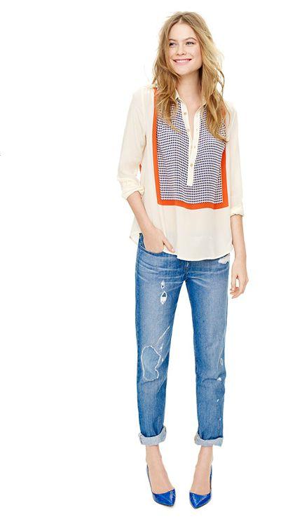 J. Crew: blouse + boyfriend jeans: casual