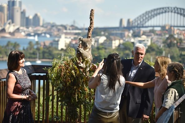 U.S. Vice President Mike Pence (2nd-R) and his wife Karen (L) and children Audrey (C) and Charlotte (R) look at a koala on a visit Taronga Park Zoo on April 23, 2017 in Sydney, Australia. Pence is visiting Australia on a three-day official tour during which he is holding talks with high officials on bilateral and international issues.