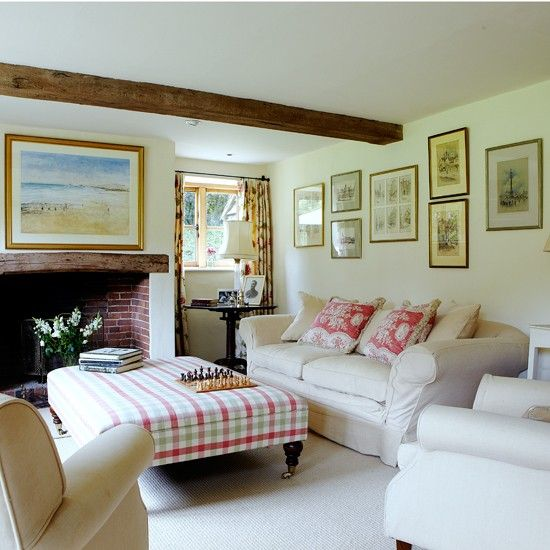 Timeless country living room  Checks, floral fabrics and a neutral sofa create a timeless country scheme in the living room.
