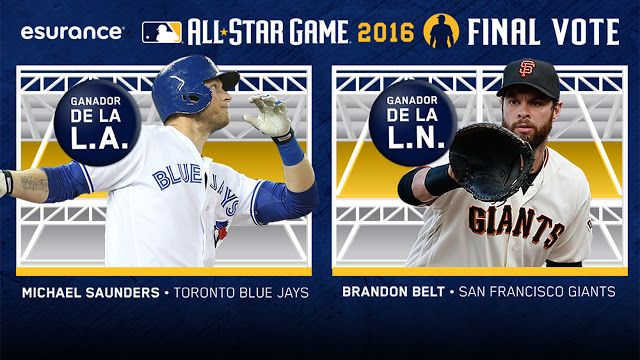 Michael Saunders y Brandon Belt ganan el Voto Final del Juego de Estrellas