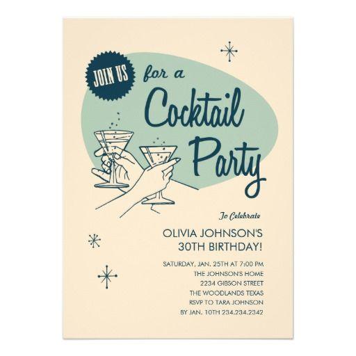 Retro Cocktail Party Invitations