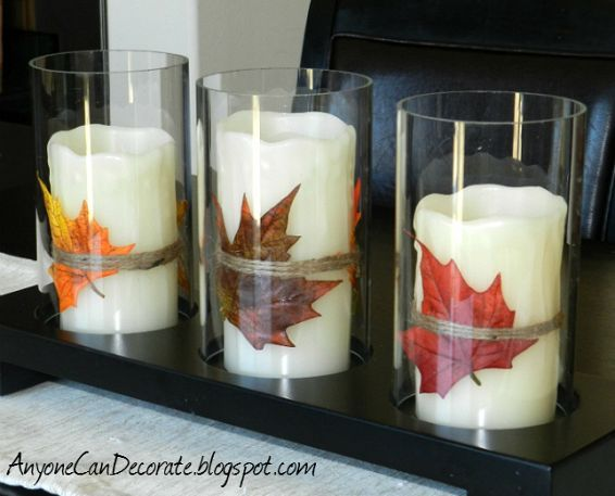 Fall DIY Crafting-like better without glass and better with bands behind leafs.