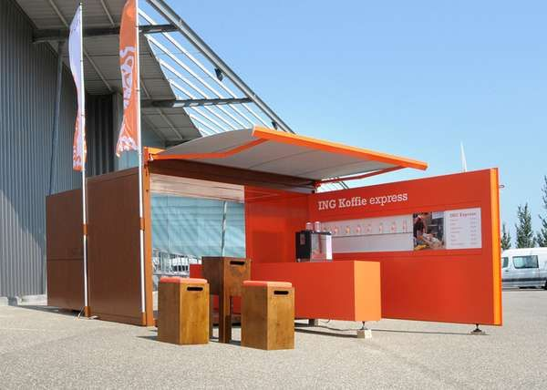 The ING Express Mobile Coffee Bar is an Eye-Catching Modular Establishment #cafes trendhunter.com