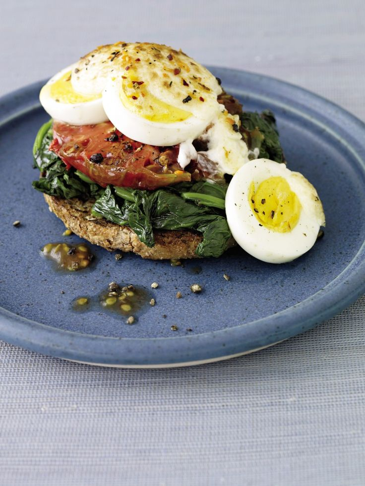 Open-Faced Broiled Egg, Spinach, and Tomato Sandwich ‹ Hello Healthy
