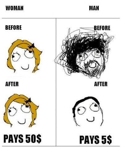 Difference between a guy' haircut and a girl's