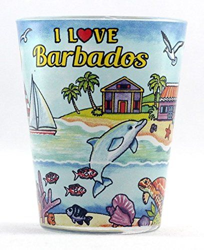 Cheers to good memories of Barbados with this island-themed shot glass!