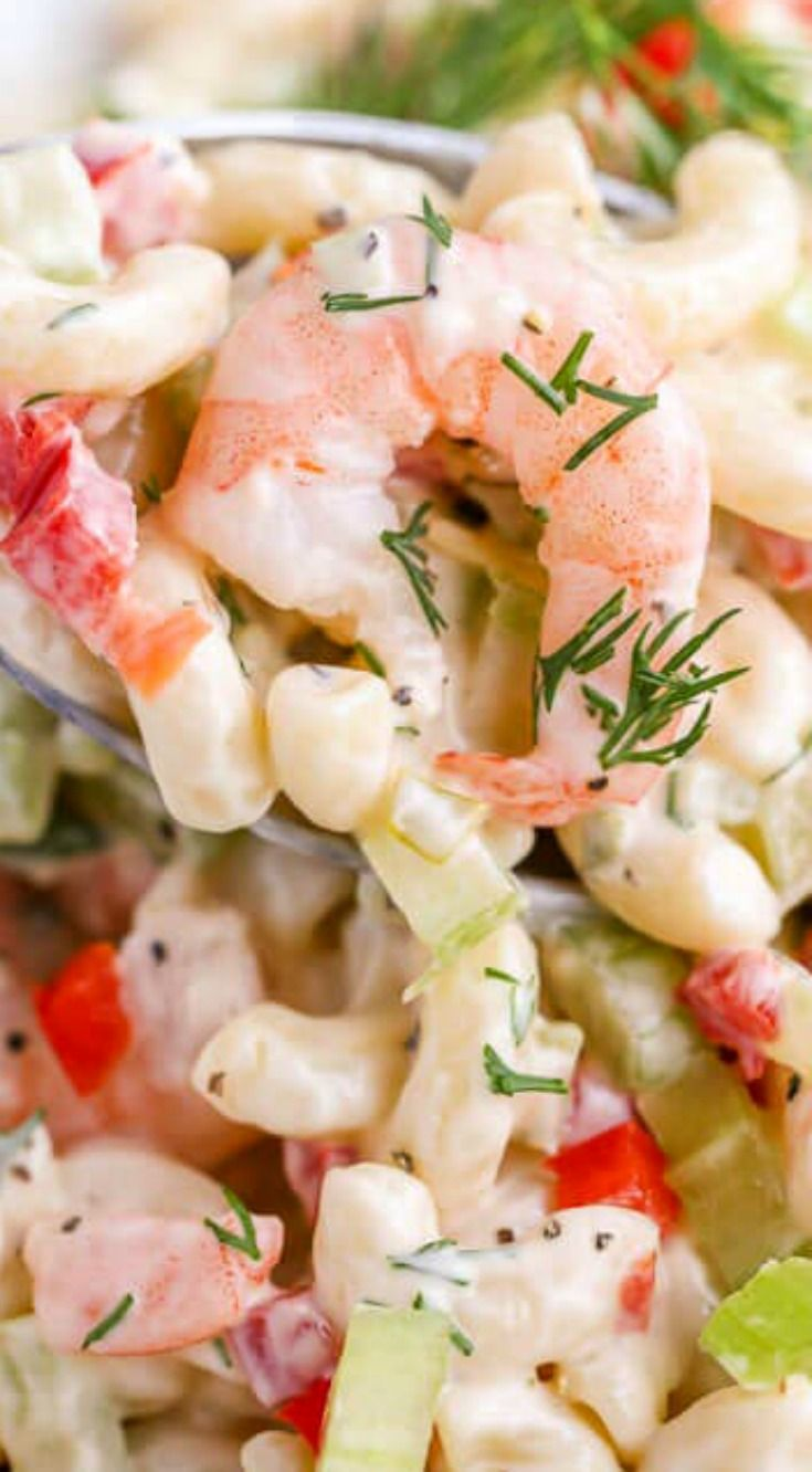 Shrimp Pasta Salad ~ It comes together within just minutes and it's incredibly delicious... Perfect dish to take to a potluck or party!
