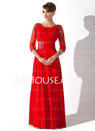Mother of the Bride Dresses - $142.99 - A-Line/Princess Scoop Neck Floor-Length Chiffon Tulle Mother of the Bride Dress With Ruffle Beading Sequins (008005752) http://jjshouse.com/A-Line-Princess-Scoop-Neck-Floor-Length-Chiffon-Tulle-Mother-Of-The-Bride-Dress-With-Ruffle-Beading-Sequins-008005752-g5752