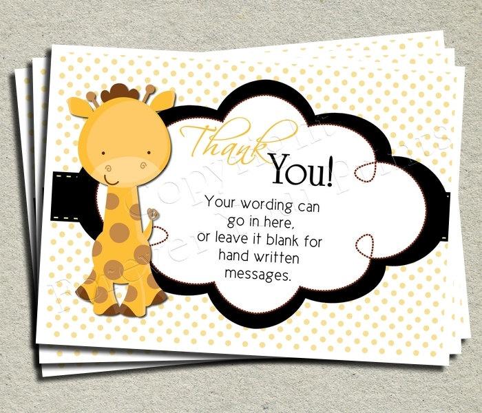 Giraffe Baby Shower Thank You Card   Giraffe Theme Shower   Unisex. $8.00,  Via