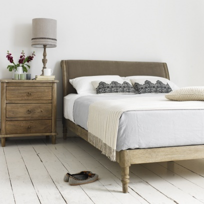 DARCY            Think dashing Mr Darcy, or elegant Darc(e)y Bussell. Our slightly contemporary take on an old French bed is so named as it's as feminine as it is boysie. Hand carved in solid weathered oak, it comes with slightly sprung slats and covered in natural fabric. Order yours from Loaf here: http://loaf.com/products/darcy-bed
