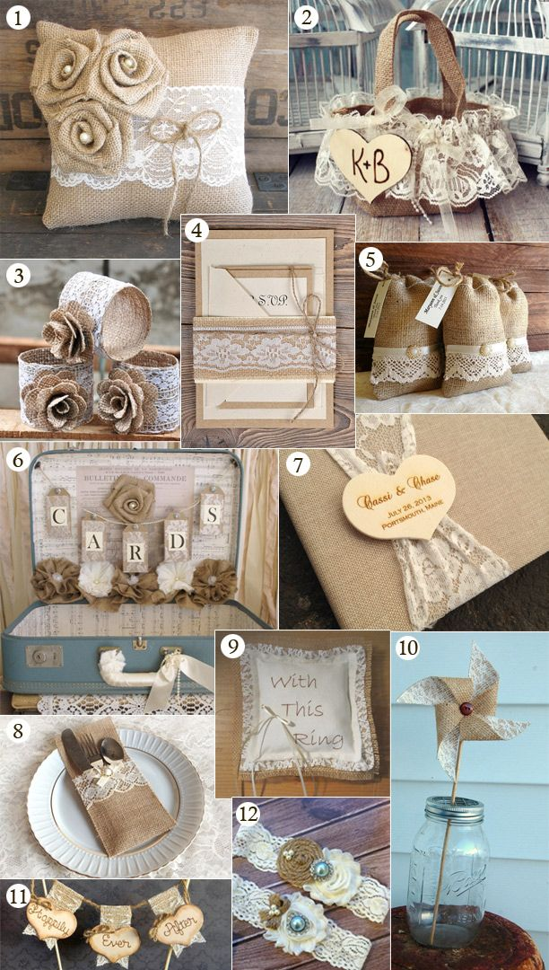 12 Burlap and Lace Wedding Inspirations for your Big Day! http://www.homeboutiquecraft.com