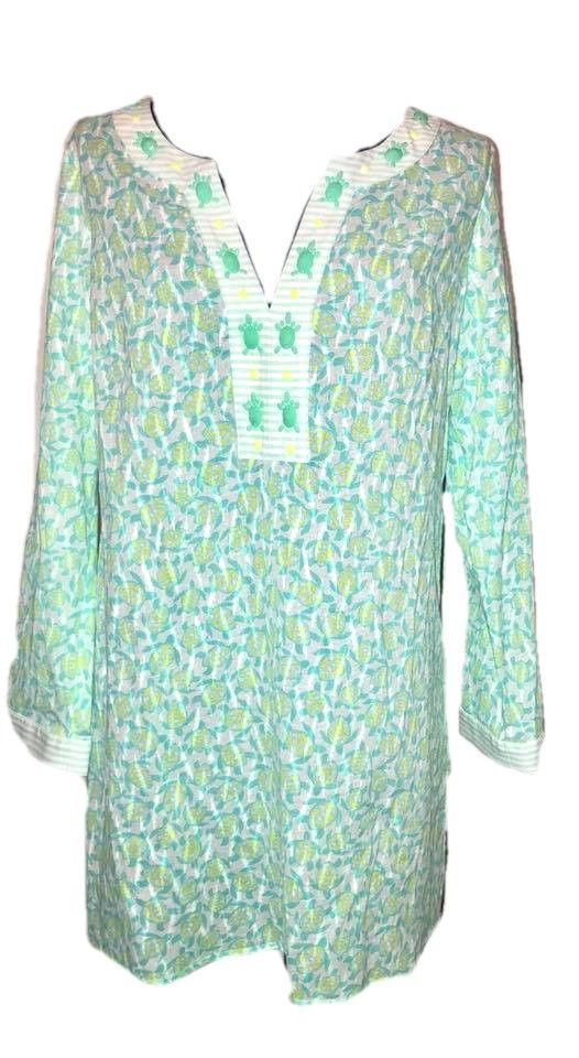 bc64934faacb4 Vineyard Vines Turtle Print Cover-Up Tunic Capri Blue Size XS Beaded NEW  NWT  VineyardVines  Tunic