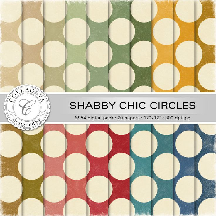 """Shabby Chic Circles Digital Paper Pack, 20 printable sheets, 12""""x12"""" Large Polka-dots, Textured Retro pattern Vintage green blue red (S554) by collageva on Etsy"""