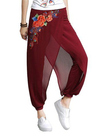 Women Breathable Patchwork Embroidery Yoga Pants