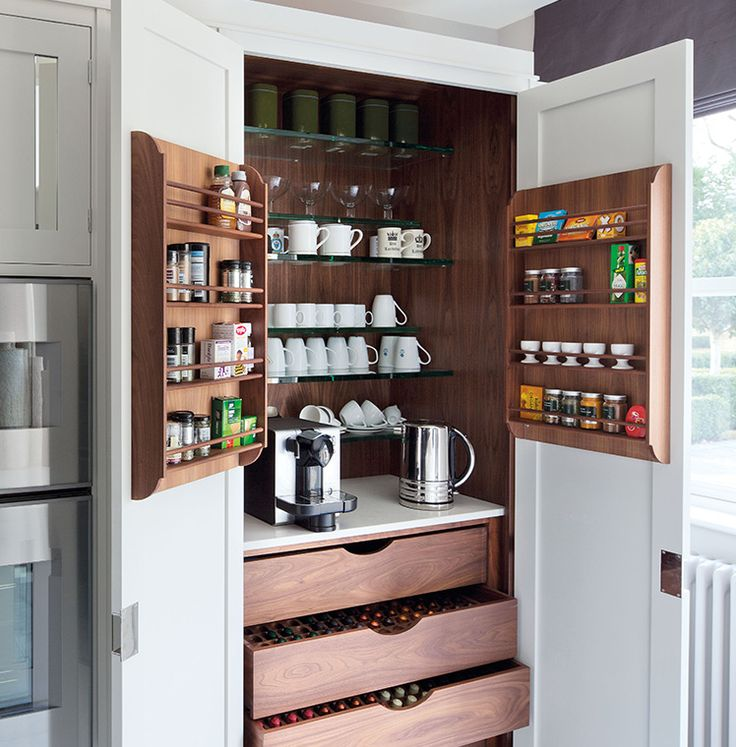 Larder!  The original Smallbone breakfast cupboard. More than a larder, it has power points for small appliances such as toaster and coffee machine, all neatly stored in one place.