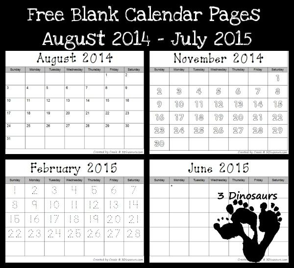 3 Dinosaurs has a FREE set of Blank Calendar pages! There are a few to pick from and they include:  Blank Calendar Set: Num