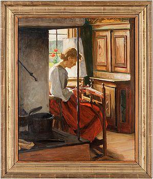SAM UHRDIN, olja på duk, signerad samt daterad á tergo 1953.
