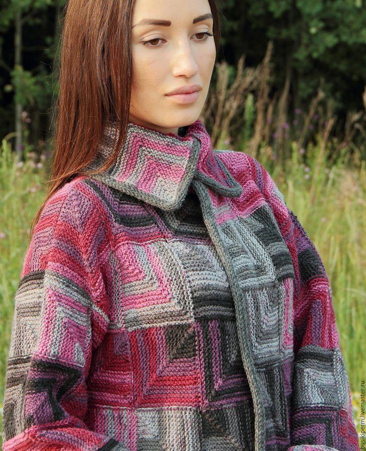 Купить Кардиган вязанный Мозаика - комбинированный, в клеточку, кардиган вязаный, кардиган женский, Кардиган-пальто