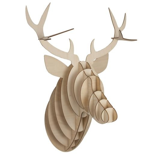 Wooden Deer Head with Antlers - Wall Art & Signs - £24.99 - The Contemporary Home Online Shop