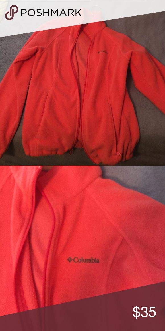 Pink Columbia jacket. Bright pink Columbia jacket. Two pockets. Logo. Columbia Jackets & Coats