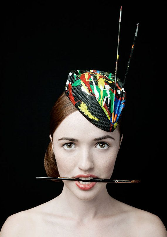 50's Style Painted Hat The Cheeky Never Mind The by zaracarpenter, £68.00